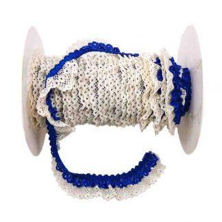 Puntilla de doble encaje plisado en color crudo y azulón de ancho 20 milímetros