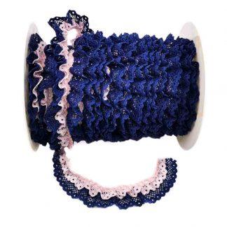 Puntilla de doble encaje plisado en color azul marino y rosa bebé de ancho 20 milímetros