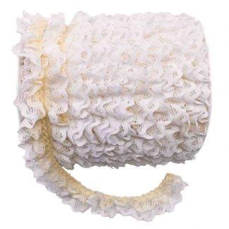 Puntilla de doble encaje plisado en color blanco y crudo de ancho 20 milímetros