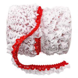 Puntilla de doble encaje plisado en color blanco y rojo de ancho 20 milímetros