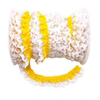 Puntilla de doble encaje plisado en color blanco y amarillo de ancho 20 milímetros