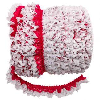 Puntilla de doble encaje plisado en color blanco y fucsia de ancho 20 milímetros