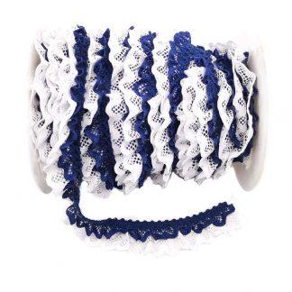 Puntilla de doble encaje plisado en color blanco y azul marino de ancho 20 milímetros