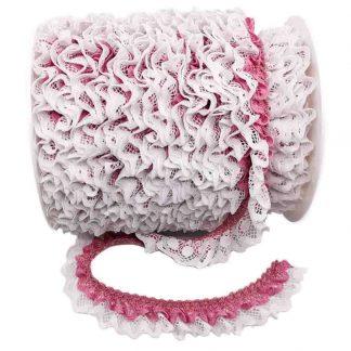 Puntilla de doble encaje plisado en color blanco y rosa palo de ancho 20 milímetros
