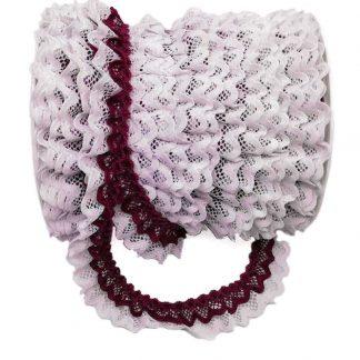 Puntilla de doble encaje plisado en color blanco y buganvilla de ancho 20 milímetros