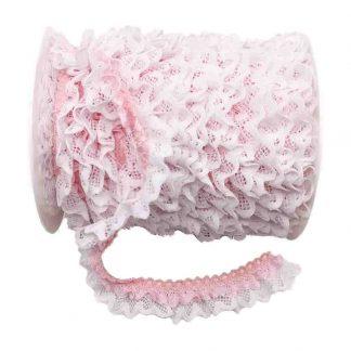 Puntilla de doble encaje plisado en color blanco y rosa bebé de ancho 20 milímetros