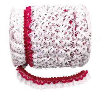 Puntilla de doble encaje plisado en color blanco y fresa de ancho 20 milímetros