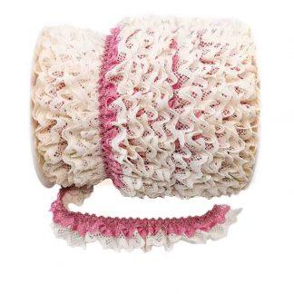 Puntilla de doble encaje plisado en color crudo y rosa palo de ancho 20 milímetros