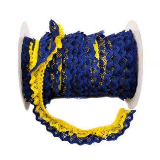 Puntilla de doble encaje plisado en color azul marino y amarillo de ancho 20 milímetros
