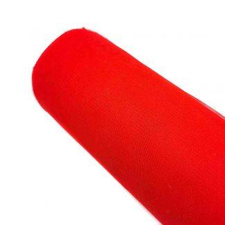 Tela de tul liso en color rojo