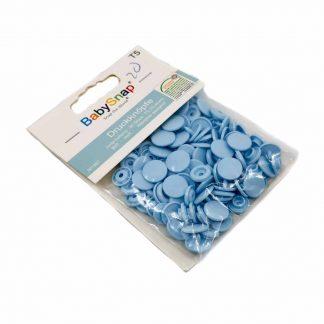 Pack de 30 botones snaps de plástico con forma circular en color azul bebé