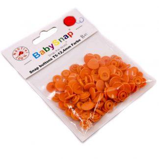 Pack de 30 botones snaps de plástico con forma circular en color naranja
