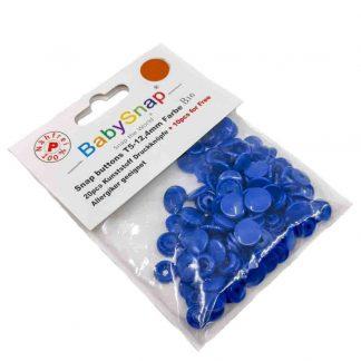 Pack de 30 botones snaps de plástico con forma circular en color azulón