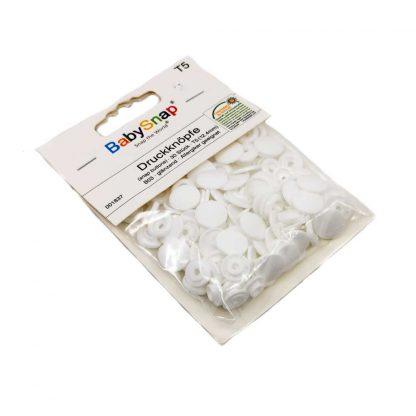 Pack de 30 botones snaps de plástico con forma circular en color blanco