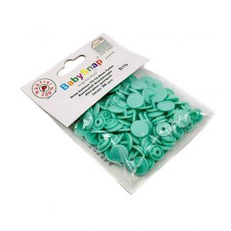 Pack de 30 botones snaps de plástico con forma circular en color verde agua
