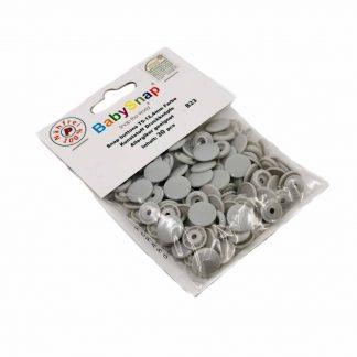 Pack de 30 botones snaps de plástico con forma circular en color gris perla
