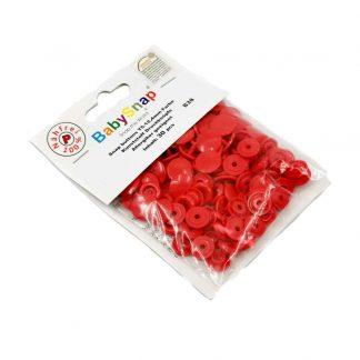 Pack de 30 botones snaps de plástico con forma circular en color rojo