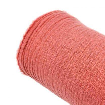 Tela doble gasa muselina de algodón orgánico GOTS en color terracota