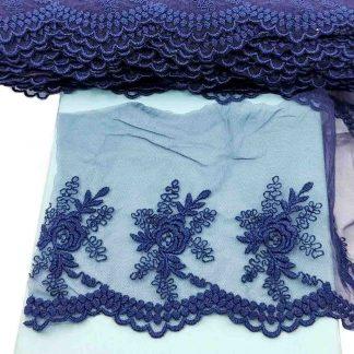 Puntilla de tul bordado azul marino de 10 centímetros de ancho con bordado de flores
