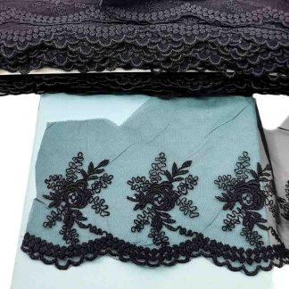 Puntilla de tul bordado negro de 10 centímetros de ancho con bordado de flores