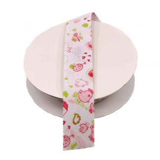 Cinta al biés de piqué con estampado de animalitos de granja y letras en color rosa