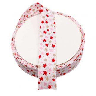 Cinta al biés de piqué con estampado de estrellas de colores en rojo, rosa bebé y beige de 30 milímetros de ancho