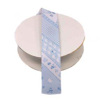 Cinta al biés de piqué con estampado de pollitos en color azul celeste de 30 milímetros de ancho