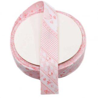 Cinta al biés de piqué con estampado de pollitos en color rosa de 30 milímetros de ancho