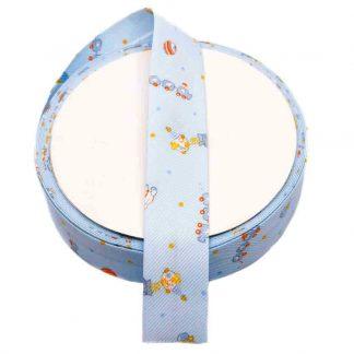 Cinta al biés de piqué con estampado de juguetes infantiles en color azul de 30 milímetros de ancho