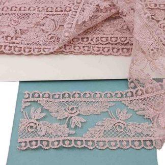 Puntilla de tul bordado nude de 5,5 centímetros de ancho con bordado de ramilletes