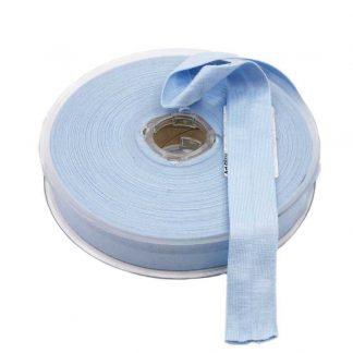 Cinta al bies de punto de algodón en color azul celeste y ancho 20 milímetros