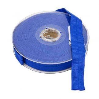 Cinta al bies de punto de algodón en color azulón y ancho 20 milímetros