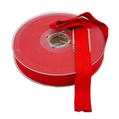Cinta al bies de punto de algodón en color rojo y ancho 20 milímetros