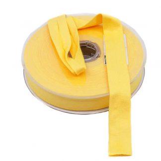 Cinta al bies de punto de algodón en color amarillo y ancho 20 milímetros