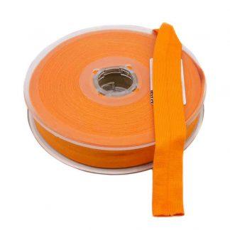 Cinta al bies de punto de algodón en color naranja y ancho 20 milímetros