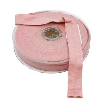 Cinta al bies de punto de algodón en color rosa empolvado y ancho 20 milímetros