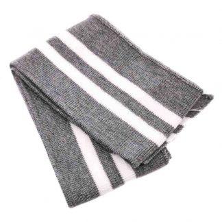 Cinturilla de punto a rayas en colores gris y blanco
