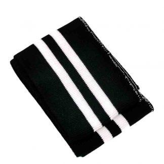 Puño de punto a rayas en colores negro y blanco