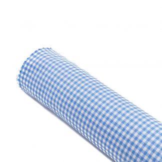 Tela vichy de cuadros en color azul celeste