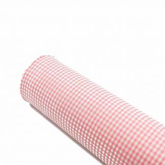 Tela vichy de cuadros en color rosa