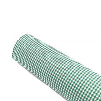 Tela vichy de cuadros en color verde