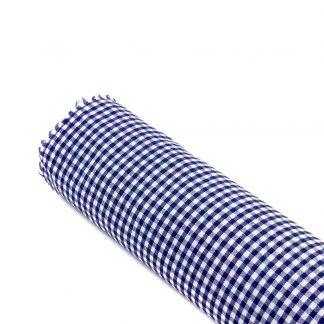Tela vichy de cuadros en color azul marino