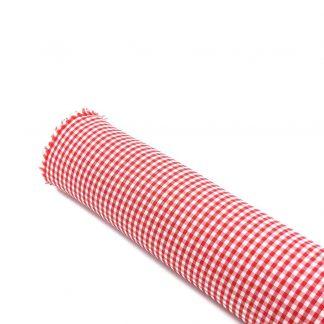 Tela vichy de cuadros en color rojo