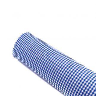 Tela vichy de cuadros en color azulón