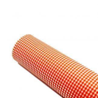 Tela vichy de cuadros en color naranja