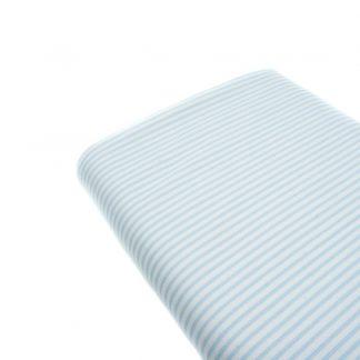 Tela de piqué de canutillo con estampado de rayas azules y blancas