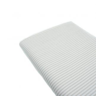 Tela de piqué de canutillo con estampado de rayas grises y blancas