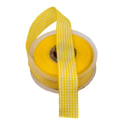 Cinta de cuadros vichy en color amarillo