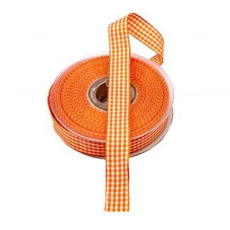 Cinta de cuadros vichy en color naranja