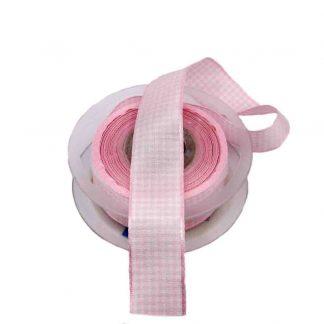 Cinta de cuadros vichy en color rosa